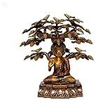 StatueStudio Brass Buddha Sitting Under Tree - Golden Brown - 15 Inch