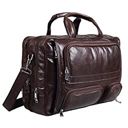 Polare Real Leather 17\'\'Laptop Carry On Overnight Bag Business Briefcase Large For Men