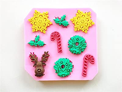 Wocuz W0478 Snowflake Canes Christmas Pattern Candy Making Mold Chocolate Fondant Decorating