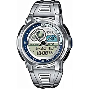 Casio Men's AQF102WD-2BV Silver Stainless-Steel Quartz Watch with White Dial