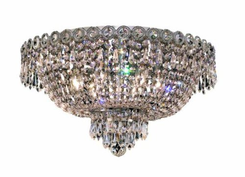 Elegant Lighting 1900F18C/Rc Century 10-Inch High 6-Light Flush Mount, Chrome Finish With Crystal (Clear) Royal Cut Rc Crystal front-735415