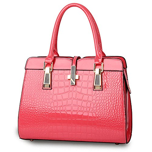 Coccodrillo Pattern Borsa per donna-Bright brevetto in pelle/borsa a tracolla di qualità/europei e americani Tote Borsa/Classica E Funzionale, Pink