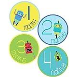 Lollipop Labels Baby Boy Robots Monthly Onesie Stickers - Baby Photo Prop - Newborn Sticker - Bodysuit Stickers...