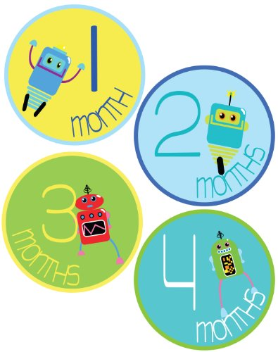 Baby Boy Robots Monthly Onesie Stickers - Baby Photo Prop - Newborn Sticker - Bodysuit Stickers - Mustache Stickers