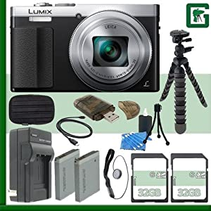 Panasonic Lumix DMC-ZS50 Digital Camera (Silver) + 64GB Green's Camera Bundle 3