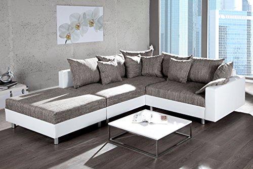Design-Ecksofa-mit-Hocker-LOFT-weiss-Strukturstoff-grau-Federkern-Sofa-OT-beidseitig-aufbaubar