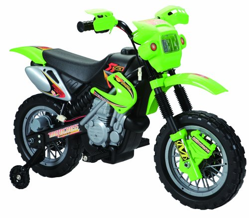 Charles Jacobs Kids RIDE ON CROSS Style Motorcycle Battery Powered Toy in GREEN w/ 1 YEAR 5 STAR WARRANTY!