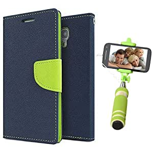 Aart Fancy Diary Card Wallet Flip Case Back Cover For Samsung J1 Ace - (Blue) + Mini Aux Wired Fashionable Selfie Stick Compatible for all Mobiles Phones By Aart Store