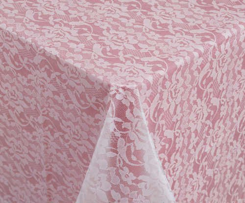 "Tablecover, Plastic 54""x108"", Lace Look - White"