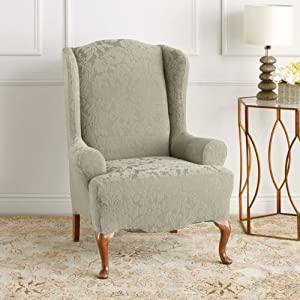 Sure Fit Stretch Jacquard Damask Wing Chair Cover, Sage