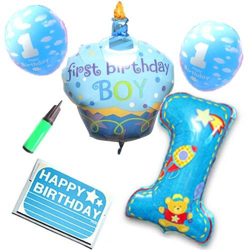 SARA STORE 1歳 お誕生日 男の子 女の子 パーティー 飾りつけ バースデーケーキ 風船 バースデーカード 空気入れ セット (ブルー)