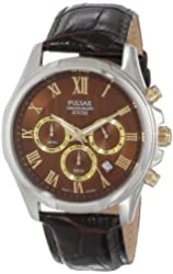 Pulsar Men's PT3397 Analog Display Japanese Quartz Brown Watch