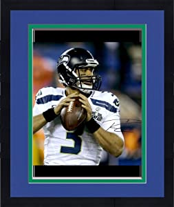 Framed Russell Wilson Seattle Seahawks Super Bowl XLVIII Champions 16