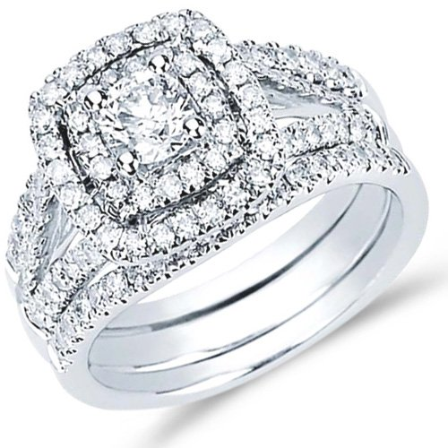 Diamond Engagement Rings Square Halo Bridal Bands Set 14K White Gold (1.30 Ct.Tw), Size 8