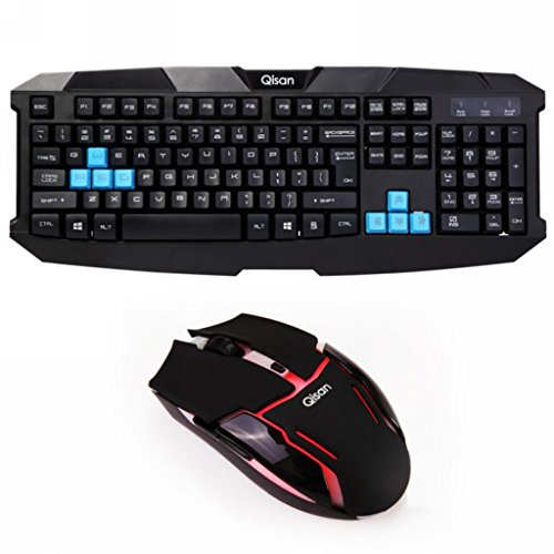 Qisan Full Size Wireless Gaming Keyboard And Mouse Combo - 2.4Ghz Wireless Gaming Mouse Full-Sizes Ergonomic Wireless Gaming Keyboard