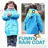 HuntGold Süß Kinder Jungen Mädchen Regen Mantel Outwear mit Kapuze wasserdichte Regenjacke Cartoon (blau)