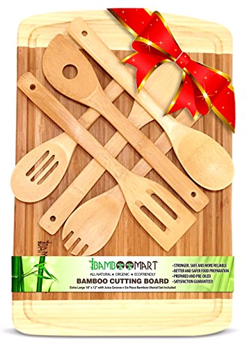 #1 Beautiful Wedding, Housewarming, or Birthday Gift Set | Bamboo Cutting Board with 6-Piece Bamboo Wood Utensils | Organic Bamboo