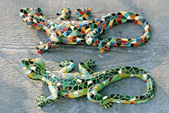 Harlequin Mosaic Resin Lizard Garden Ornament by Ornamental Weather