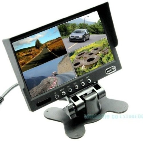 """7"""" Tft-Lcd Car Rearview Quad Split Monitor,Remote Control,4 Ch Video Inputs D1211"""
