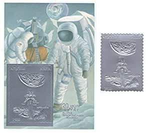 Silberfolie apollo 11 raum block und stempel doppel 1994 for Amazon stempel