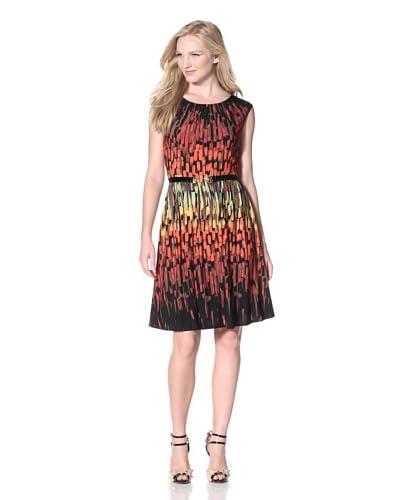 Ellen Tracy Women's Cap Sleeve Belted Dress  - Orange Multi