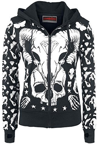 Jawbreaker Devil Sweatjacket Felpa jogging donna nero/bianco S