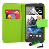 32nd® Book wallet PU leather case cover for HTC One (M7) + screen protector, cleaning cloth and touch stylus - Green