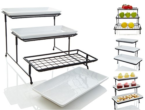 New Design 3 Tiered Mesh Swivel Wire Stand with Porcelain Serving Platters/Trays - Sturdier Thicker Mesh Metal Rack Displays Cupcakes, Fruits, Veggies, Produces and More (Dessert Dishes Serving compare prices)