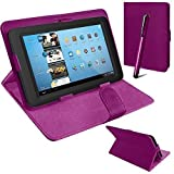 Connect Zone® Universal PU Leather Stand Case Cover For Various Android Tablet PC + Tall Touch Screen Stylus (Purple)