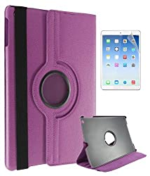 DMG Premium Full 360 Rotating Smart Flip Cover Book Case for Apple iPad Air with Matte Screen protector and DMG Wristband (Purple)