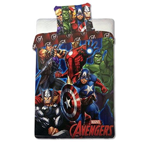 Set Letto THE AVENGERS Cotone COPRIPIUMINO 140x200cm Capitan America Iron Man Thor Originale DISNEY