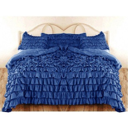 600 Tc 3 Pc King Size Waterfall Ruffle Duvet Set In Solid Royal Blue By Jay