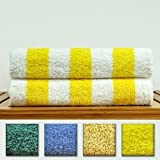 Luxury Hotel & Spa Towel 100% Genuine Turkish Cotton - Extra Large Cabana Striped Pool Beach Towel Set (Yellow, Set of 2)