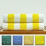 Luxury Hotel & Spa Towel 100% Genuine Turkish Cotton - Extra Large Cabana Striped Pool Beach Towel Set (Yellow, Set of 2)