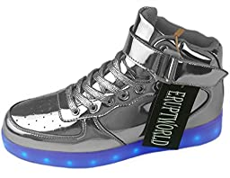 ERupt Women Men Lace Up Lightweight USB Charging LED Sneakers Light up Shoes Silver