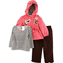 "Young Hearts ""Love"" Coral Toddler Windsuit Jacket, Top & Pants Set (3T)"