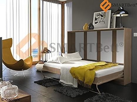 Cama plegable Horizontal cama cuna Smart Gaestebett plegable bed Murphy bed 90 x 200 cm Horizontal madera de roble Sonoma con colchón