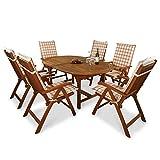 indoba-IND-70048-BASE7-IND-70410-AUHL-Serie-Bali-Gartenmbel-Set-13-teilig-aus-Holz-FSC-zertifiziert-6-klappbare-Gartensthle-ausziehbarer-Gartentisch-6-Comfort-Auflagen-Karo-Orange
