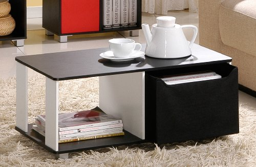 Furinno Coffee Table with Bin Drawer - Black & White Finish, 99954