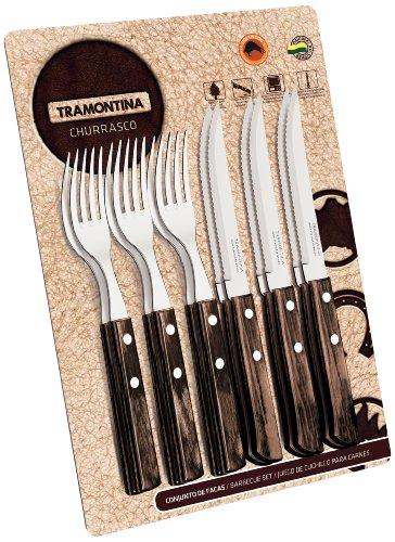 Tramontina 21199/911Set di posate da 12pezzi con manico marrone, doppia/triplice chiodatura, 6x coltelli da bistecca 5pollici, 6x forchetta da bistecca