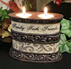 Aged Bronze Oval Double Candle Holder Faith Family Friends - Tea Light Candles Incl.