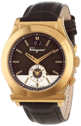 Ferragamo Men's F62LDT5095 S497 1898 Quartz Dual Time Brown Croco-Print Calfskin Watch