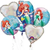 Disney Little Mermaid Ariel Balloon Birthday Party Favor Supplies 5ct Foil Balloon Bouquet