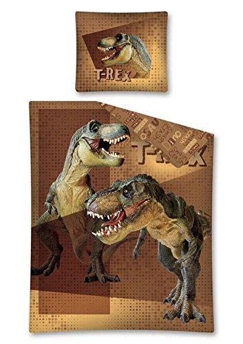 Parure-de-lit-enfant-Housse-de-couette-140-x-200-cm-Dinosaure-T-Rex-Marron
