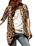 Allegra K Leopard Prints Long Sleeve Open Front NEW Fashion Cardigan for Women