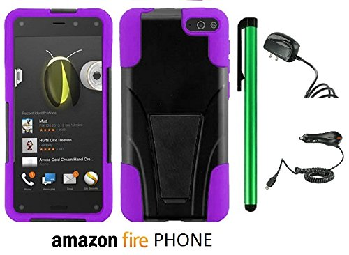 Amazon Fire Phone Premium Design Hybrid T-Stand, Flex Skin And Polycarbonate Hard Cover With Kickstand (Us Carrier: At&T; Released In July 2014) + Travel (Wall) Charger & Car Charger + 1 Of New Assorted Color Metal Stylus Touch Screen Pen (Purple / Black) front-929343
