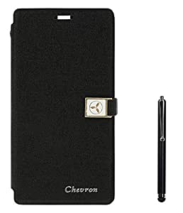 Chevron Royal Armour Flip Cover With Stand Mode for Asus Zenfone Selfie ZD551KL With Stylus (Black)