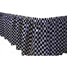 Kwik-Cover KS3096PK-BLKW PKG. Black &amp; White Check Kwik-Skirt With 30&#034; X 96&#034; White Cover Fitted Table Cover With Skirt, Individually Wrapped, 2 bags of 5