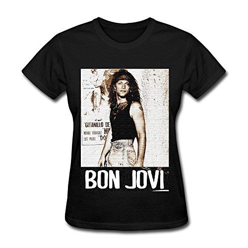 FUNSHIN Women's Bon Jovi Forever T-shirt Black XXL