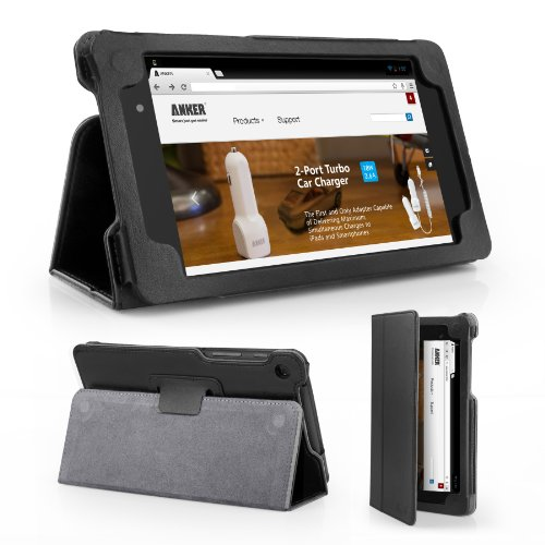 Anker Google New Nexus 7 FHD 2nd Gen Case - Synthetic Leather Slip-In Case for Google Nexus 2 7.0 Inch (2013 Edition) Android 4.3 Tablet - Smart Cover with Auto Wake / Sleep Function